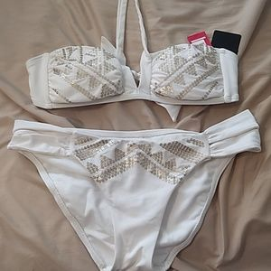 White/cream bikini with gold sequins